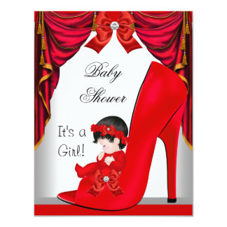 "Cute Baby Shower Girl Red Baby Shoe 3 4.25"" X 5.5"" Invitation Card"