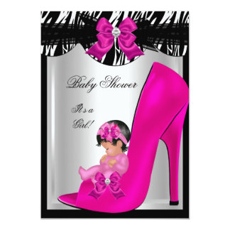 Cute Baby Shower Girl Zebra Hot Pink Baby Shoe 5x7 Paper Invitation Card