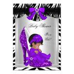 "Cute Baby Shower Girl Zebra Purple Baby Shoe 2 5"" X 7"" Invitation Card"