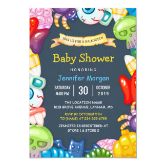 Cute Baby Shower Halloween Monsters Theme Card