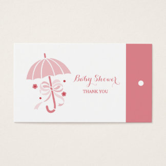 Cute Baby Shower Pink Umbrella Thank You Hang Tags Business Card