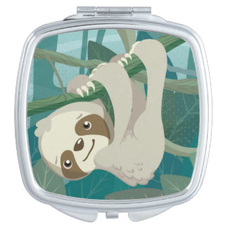 Cute Baby Sloth on a Branch Vanity Mirrors