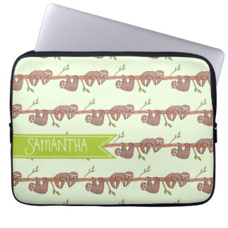 Cute Baby Sloths Hanging on Treebranch Pattern Laptop Sleeve
