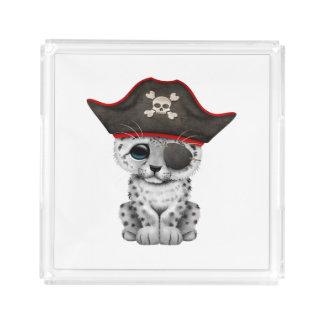 Cute Baby Snow Leopard Cub Pirate Acrylic Tray