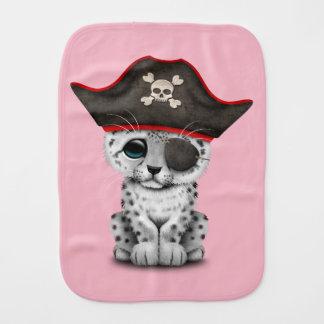 Cute Baby Snow Leopard Cub Pirate Baby Burp Cloth