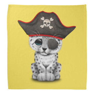 Cute Baby Snow Leopard Cub Pirate Bandana