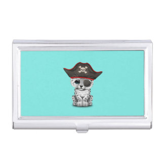 Cute Baby Snow Leopard Cub Pirate Business Card Holder