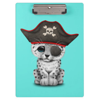 Cute Baby Snow Leopard Cub Pirate Clipboard