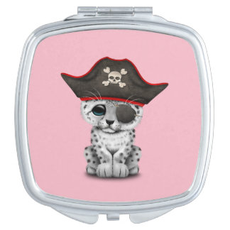 Cute Baby Snow Leopard Cub Pirate Compact Mirror