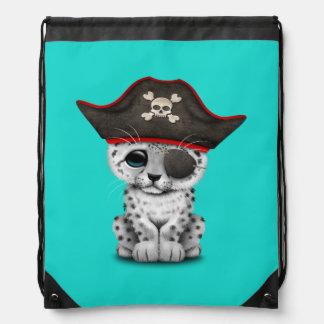 Cute Baby Snow Leopard Cub Pirate Drawstring Bag