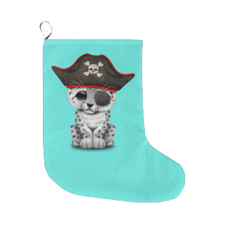 Cute Baby Snow Leopard Cub Pirate Large Christmas Stocking