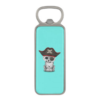 Cute Baby Snow Leopard Cub Pirate Magnetic Bottle Opener