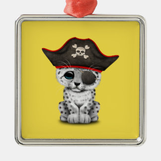 Cute Baby Snow Leopard Cub Pirate Metal Ornament
