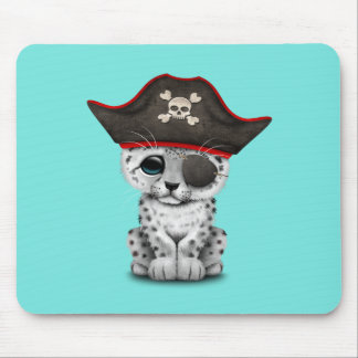 Cute Baby Snow Leopard Cub Pirate Mouse Pad