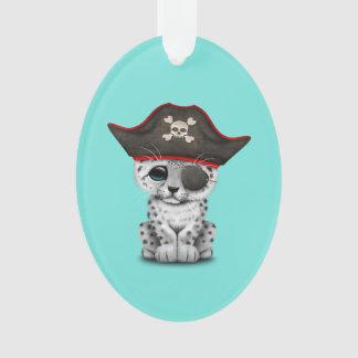 Cute Baby Snow Leopard Cub Pirate Ornament