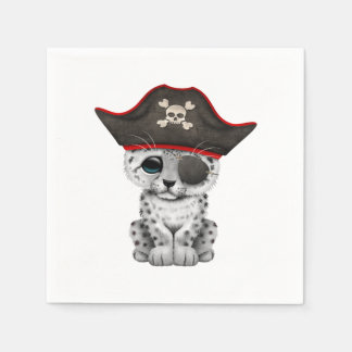 Cute Baby Snow Leopard Cub Pirate Paper Napkins