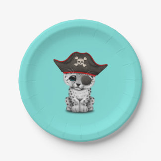 Cute Baby Snow Leopard Cub Pirate Paper Plate