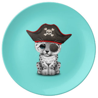 Cute Baby Snow Leopard Cub Pirate Plate