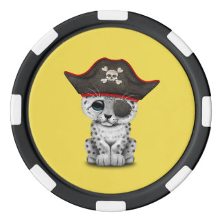 Cute Baby Snow Leopard Cub Pirate Poker Chips