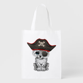 Cute Baby Snow Leopard Cub Pirate Reusable Grocery Bag
