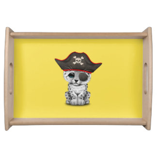 Cute Baby Snow Leopard Cub Pirate Serving Tray