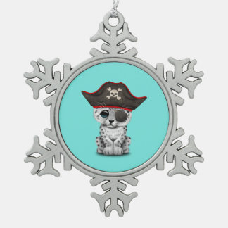 Cute Baby Snow Leopard Cub Pirate Snowflake Pewter Christmas Ornament