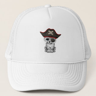 Cute Baby Snow Leopard Cub Pirate Trucker Hat