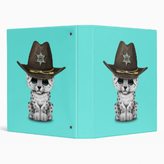 Cute Baby Snow Leopard Cub Sheriff 3 Ring Binders