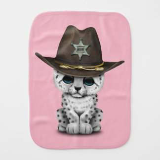 Cute Baby Snow Leopard Cub Sheriff Burp Cloth