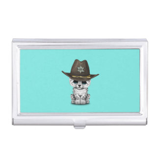 Cute Baby Snow Leopard Cub Sheriff Business Card Holder