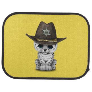 Cute Baby Snow Leopard Cub Sheriff Car Carpet