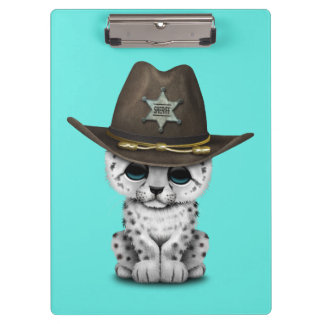 Cute Baby Snow Leopard Cub Sheriff Clipboard
