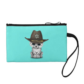 Cute Baby Snow Leopard Cub Sheriff Coin Wallets