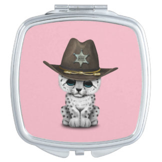 Cute Baby Snow Leopard Cub Sheriff Compact Mirror