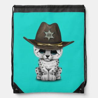 Cute Baby Snow Leopard Cub Sheriff Drawstring Bag
