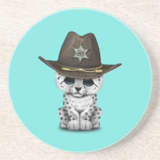 Cute Baby Snow Leopard Cub Sheriff Drink Coaster