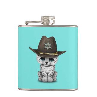 Cute Baby Snow Leopard Cub Sheriff Hip Flask