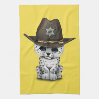 Cute Baby Snow Leopard Cub Sheriff Kitchen Towel