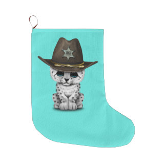 Cute Baby Snow Leopard Cub Sheriff Large Christmas Stocking