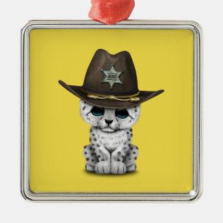 Cute Baby Snow Leopard Cub Sheriff Metal Ornament