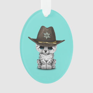 Cute Baby Snow Leopard Cub Sheriff Ornament