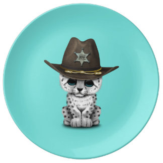 Cute Baby Snow Leopard Cub Sheriff Plate