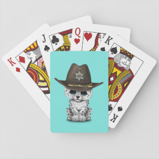 Cute Baby Snow Leopard Cub Sheriff Playing Cards