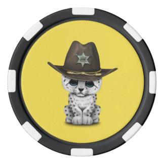 Cute Baby Snow Leopard Cub Sheriff Poker Chips Set