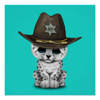 Cute Baby Snow Leopard Cub Sheriff Poster