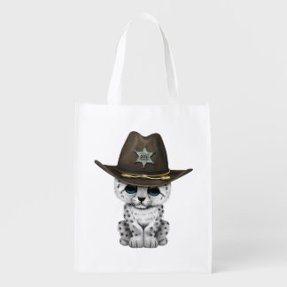 Cute Baby Snow Leopard Cub Sheriff Reusable Grocery Bag