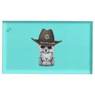 Cute Baby Snow Leopard Cub Sheriff Table Card Holder