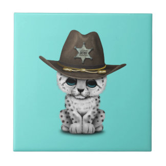 Cute Baby Snow Leopard Cub Sheriff Tile
