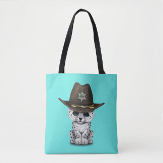 Cute Baby Snow Leopard Cub Sheriff Tote Bag