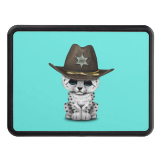 Cute Baby Snow Leopard Cub Sheriff Tow Hitch Covers